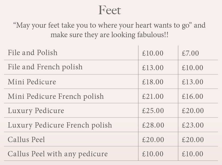 price list of foot treatments