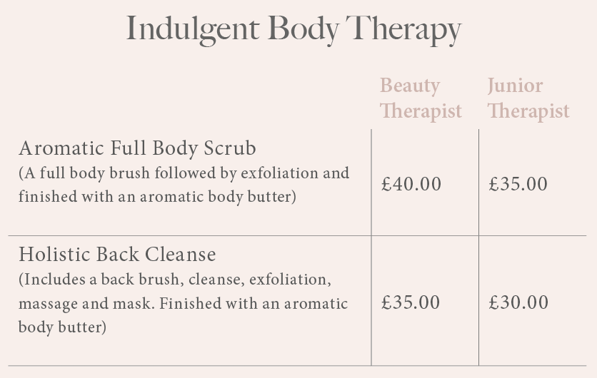 price list for indulgent body therapy